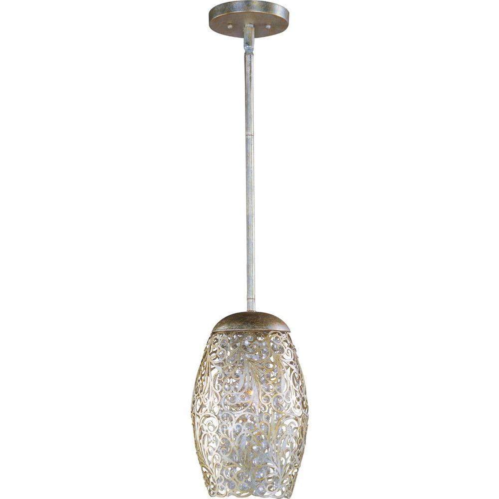 Maxim Lighting Arabesque 1 Light Golden Silver Mini Pendant
