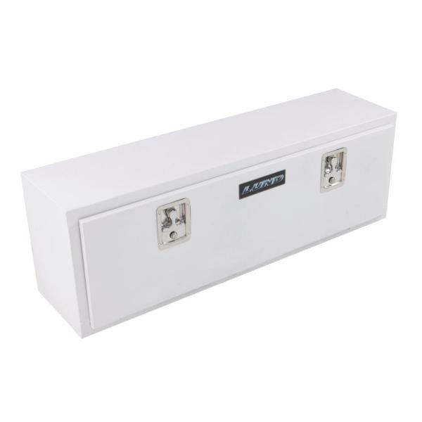 Lund 48 in White Steel Full Size Top Mount Truck Tool Box with mounting hardware and keys included