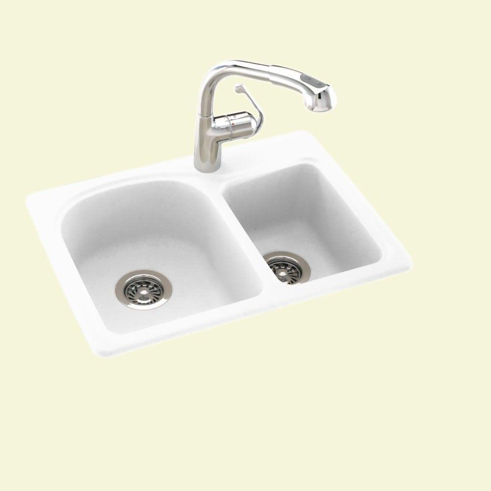Swan Drop-In/Undermount Solid Surface 25 in. 1-Hole 60/40 Double ...