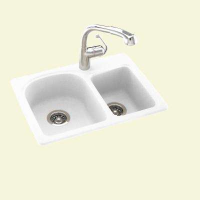 Drop-In/Undermount Solid Surface 25 in. 1-Hole 60/40 Double Bowl Kitchen Sink in White