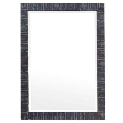 43 in. H x 31 in. W Plastic Framed Mirror in Brown Texture Finish