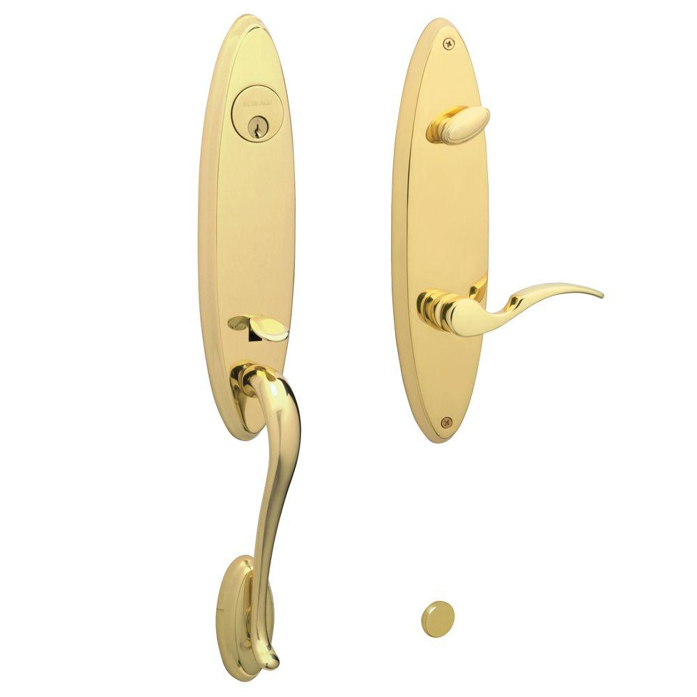 Schlage Venice Bright Brass Left-Hand Handleset with St. Annes Interior Lever-DISCONTINUED