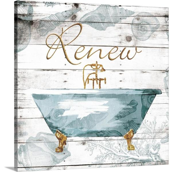 Greatbigcanvas Golden Coastal Bath By Jace Grey Canvas Wall Art 2478131 24 16x16 The Home Depot