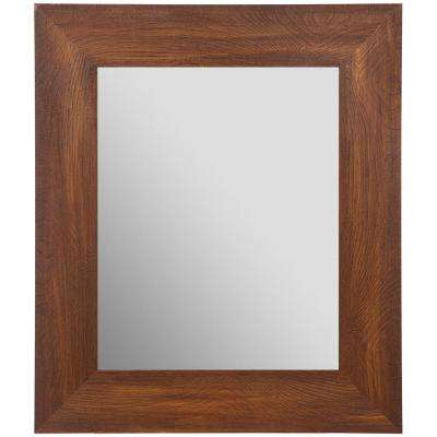 Woodgrain Framed Beveled Rectangular Walnut Decorative Mirror
