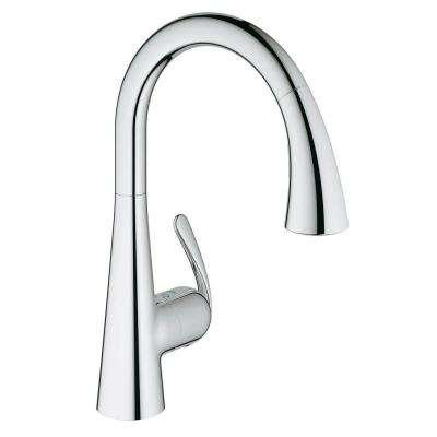 LadyLux Cafe Single-Handle Pull-Down Sprayer Kitchen Faucet with Foot Control in StarLight Chrome