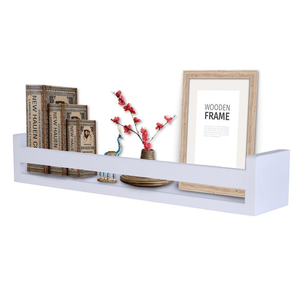 DANYA B 18 in. White Wooden Floating Decorative Wall Ledge Shelf