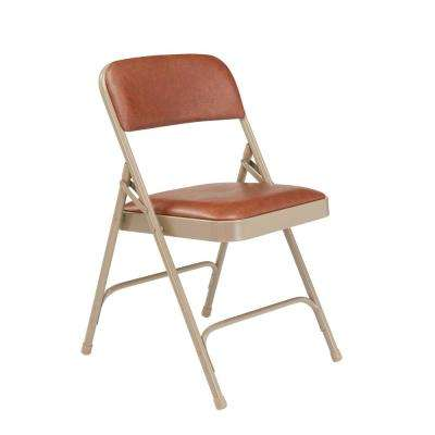 Brown Vinyl Seat Stackable Folding Chair (Set of 4)