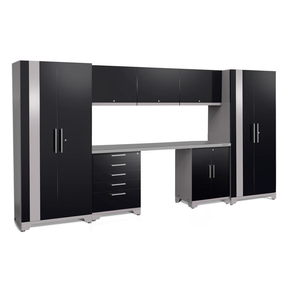 Performance Plus 2.0 85.25 in. H x 156 in. W x 24 in. D 18-Gauge Welded Steel Garage Cabinet Set in Black (8-Piece)