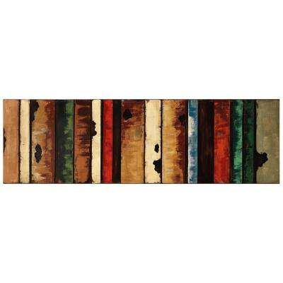 """22 in. x 72 in. """"Rustic Flow 1"""" Mixed Media Iron Hand Painted Dimensional Wall Art"""