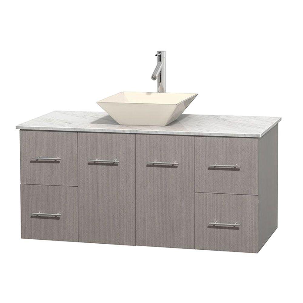 Vanity Gray Oak Marble Vanity Top White Bone Porcelain Sink Vanities