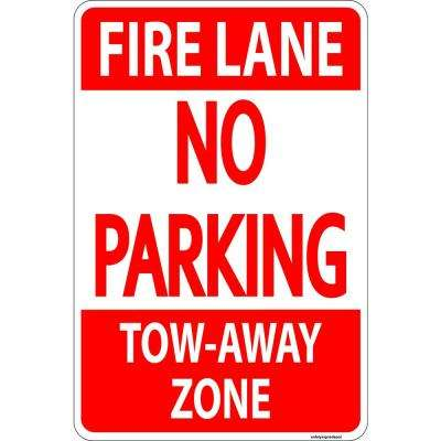 12 in. x 8 in. Plastic Fire Lane No Parking Tow-Away Zone Sign