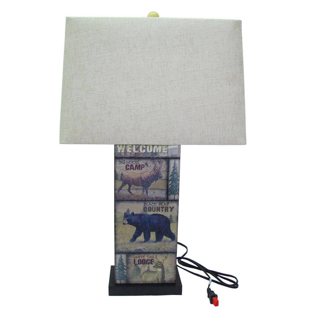 Merveilleux Leather Wildlife Table Lamp With Shade
