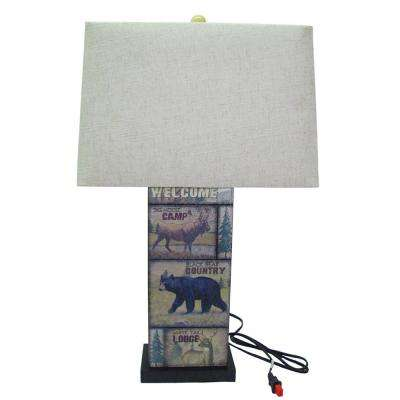 28 in. Leather Wildlife Table Lamp with Shade
