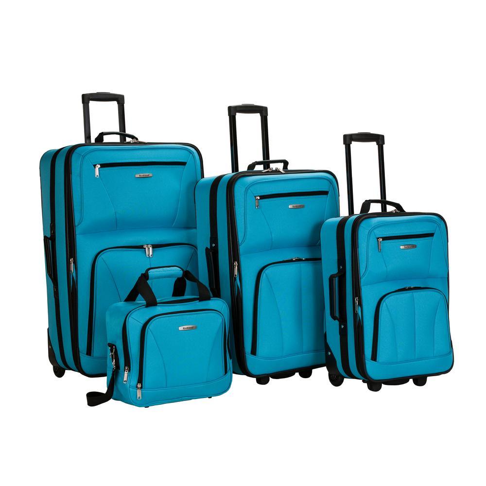 Rockland Sydney Collection Expandable 4-Piece Softside Luggage Set, Turquoise