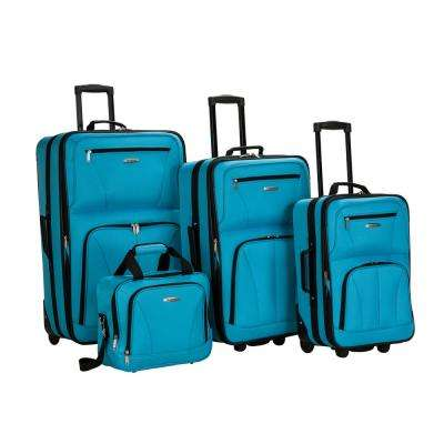 Rockland Sydney Collection Expandable 4-Piece Softside Luggage Set, Turquoise