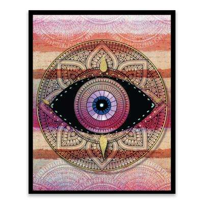 "16 in. x 20 in. ""Tribal Eye Part 3"" by Nikki Chu Screen Print on Glass Shadowbox Framed Wooden Wall Art"