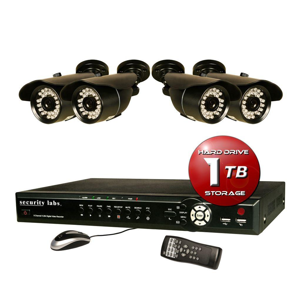 Security Labs 8 CH Surveillance System with H.264 / Smartphone DVR, 1TB HDD, Alarm E-mail and (4) 700TVL Weatherproof IR Cameras