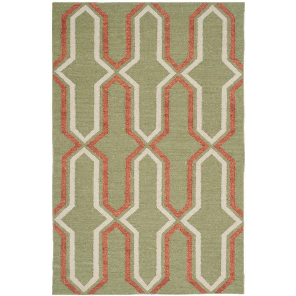 Dhurries Green/Rust 6 ft. x 9 ft. Area Rug