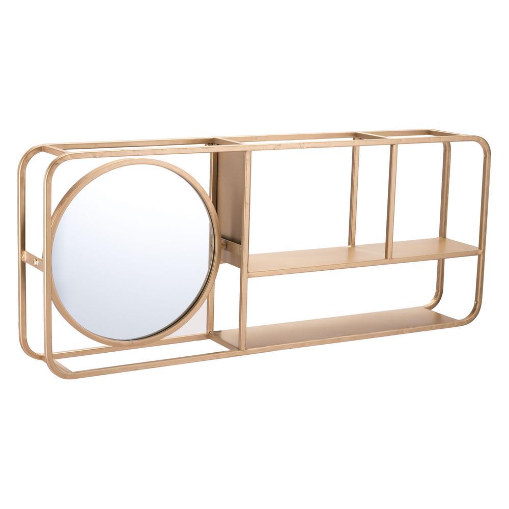 Rectangular Gold Shelf Mirror