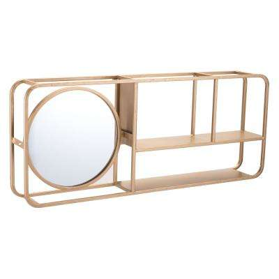 Rectangular Gold Shelf Mirror