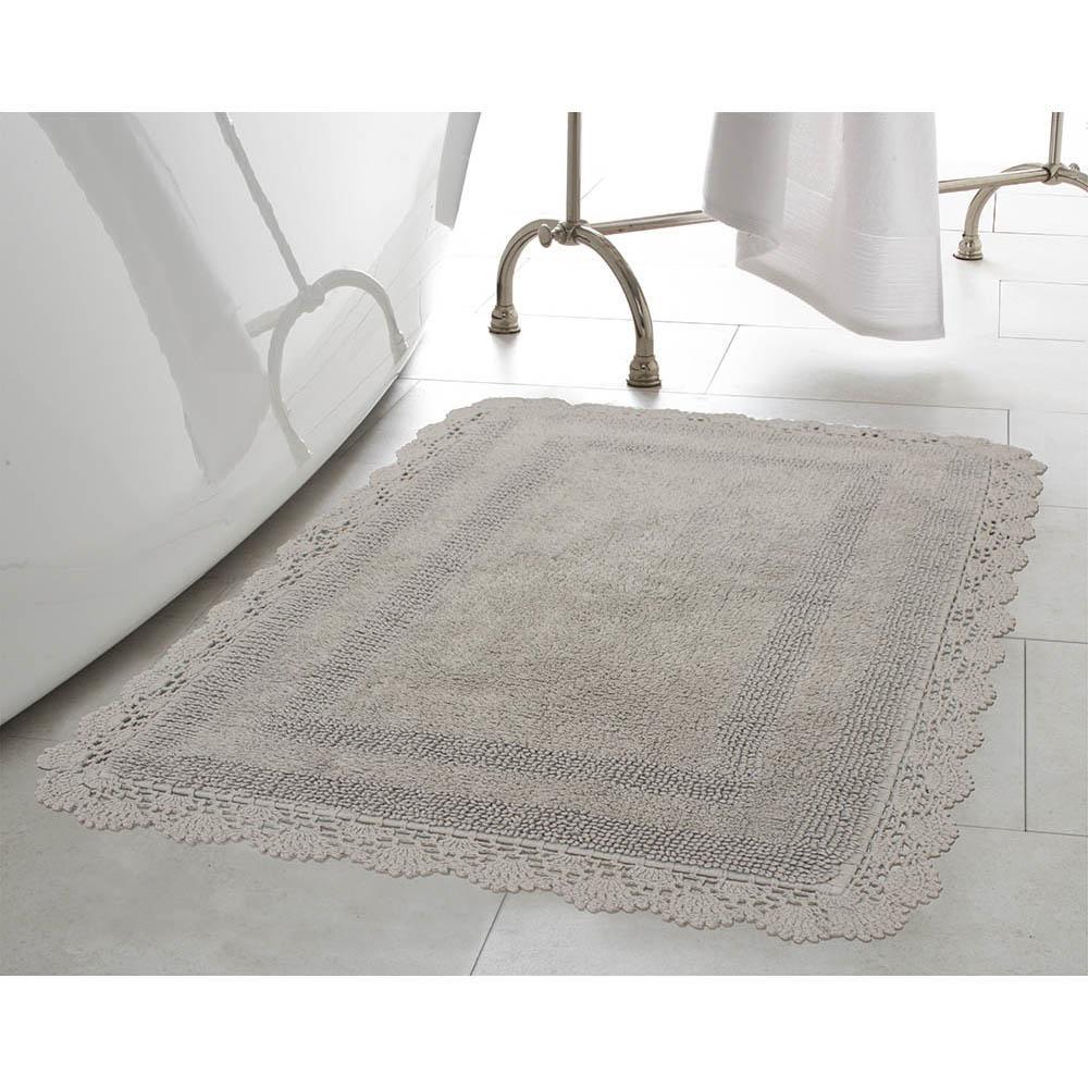 Crochet 100% Cotton 21 in. x 34 in. Bath Rug in Light Grey
