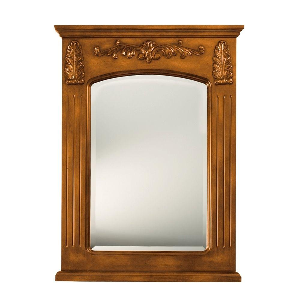 Home Decorators Collection Chelsea 35 in. H x 26 in. W Rectangular Single Mirror in Antique Oak