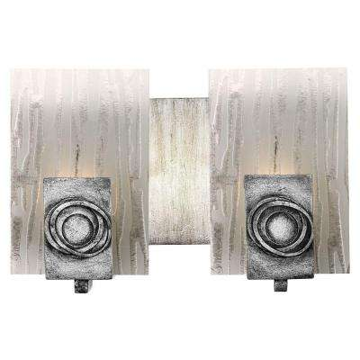 Polar 2-Light Blackened Silver Bath Vanity Light with Ice Crystal Glass