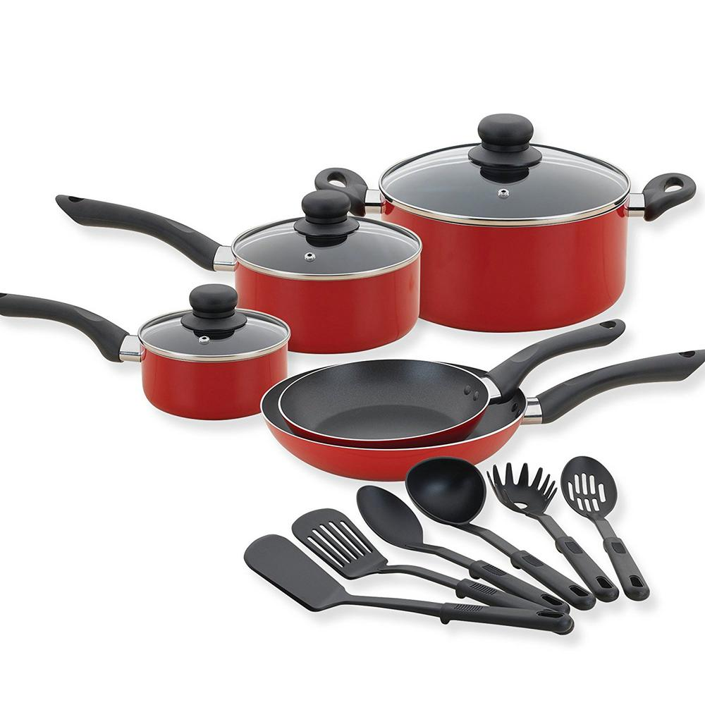 Betty Crocker 14-Piece Cookware Set, Kitchen Pots And Pans