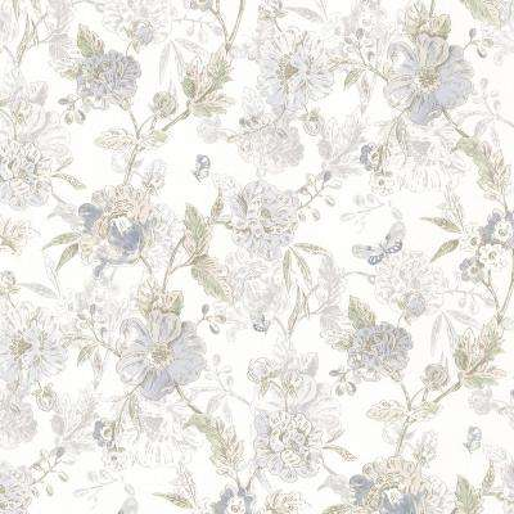 Beecroft Blue Butterfly Peony Trail Wallpaper Sample