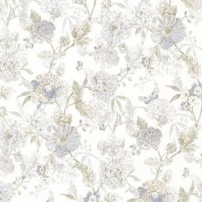 Beecroft Blue Butterfly Peony Trail Vinyl Peelable Roll Wallpaper (Covers 56.4 sq. ft.)