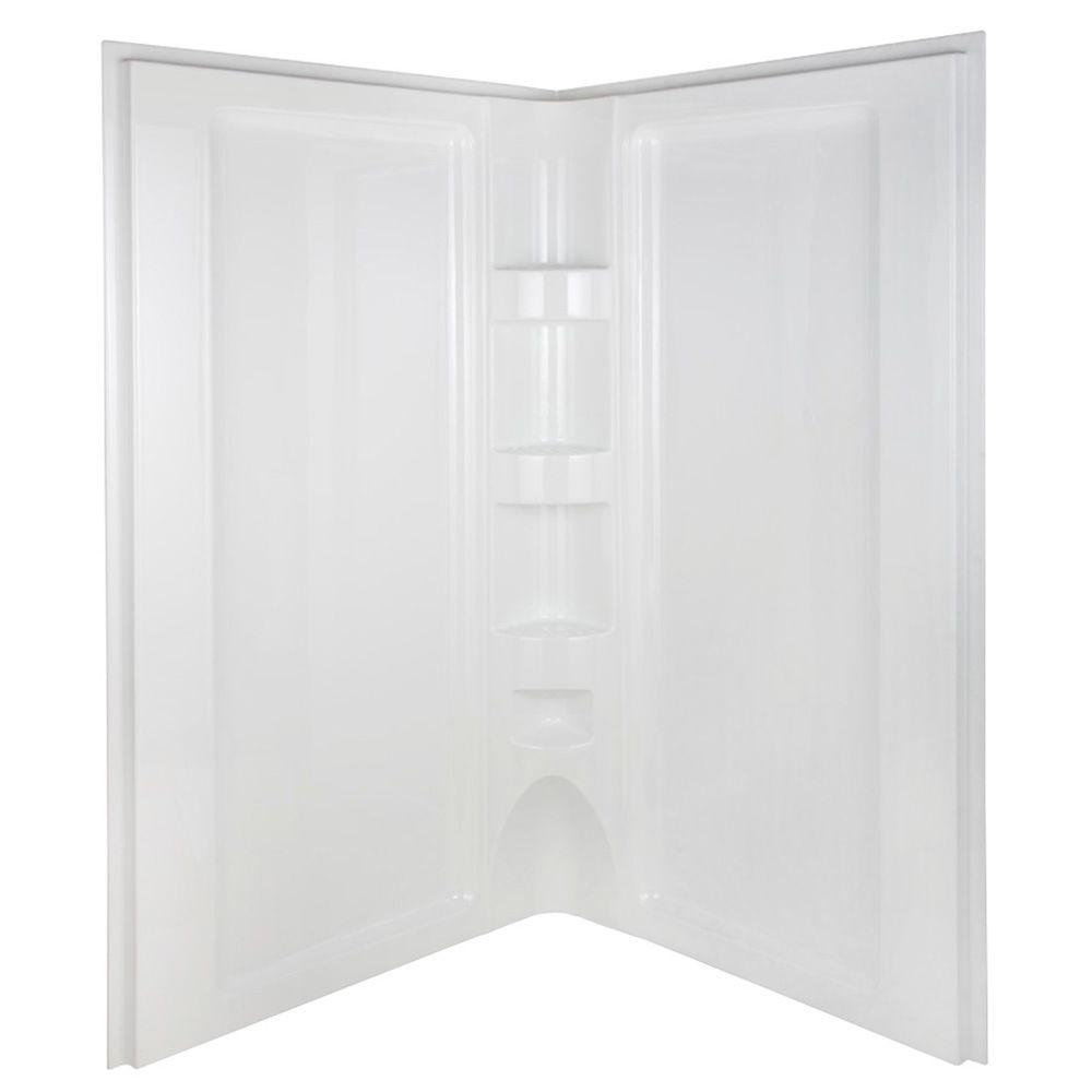 Aqua Glass 42 in. Neo Angle Shower Wall Set in White