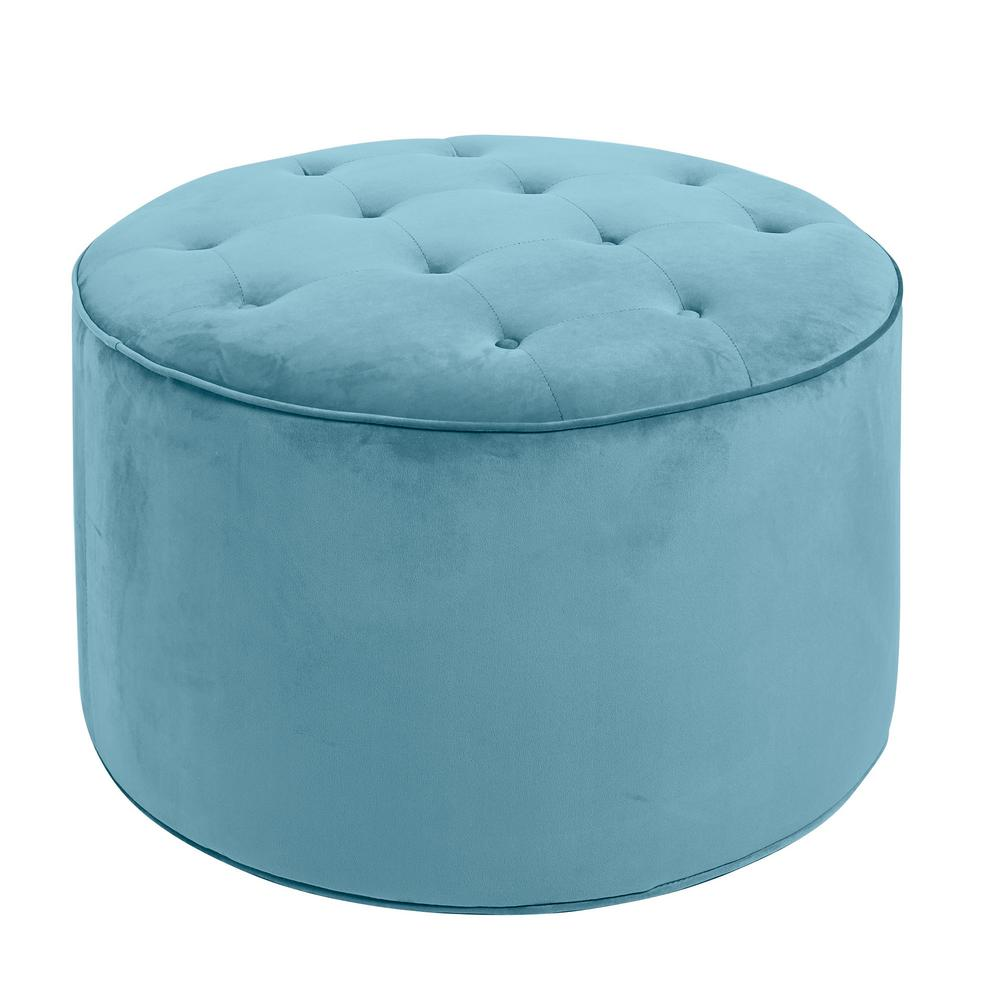 Silverwood Furniture Reimagined Colette Capri Blue Tufted Large Round Ottoman Cpfh1148b The Home Depot