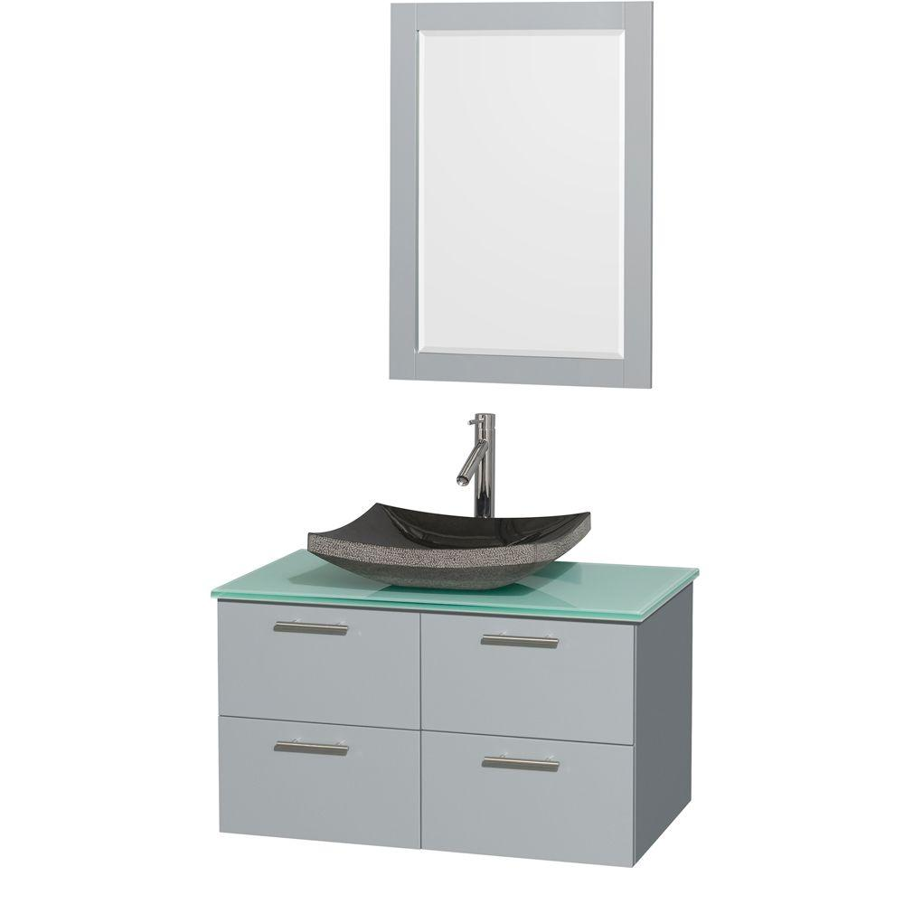 Wyndham Collection Amare 36 in. W x 21.5 in. D Vanity in Dove Gray with Glass Vanity Top in Green with Black Basin and 24 in. Mirror