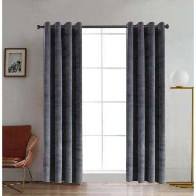 Regency Semi-Opaque Room Darkening Polyester Curtain in Silver - 54 in. L x 52 in. W