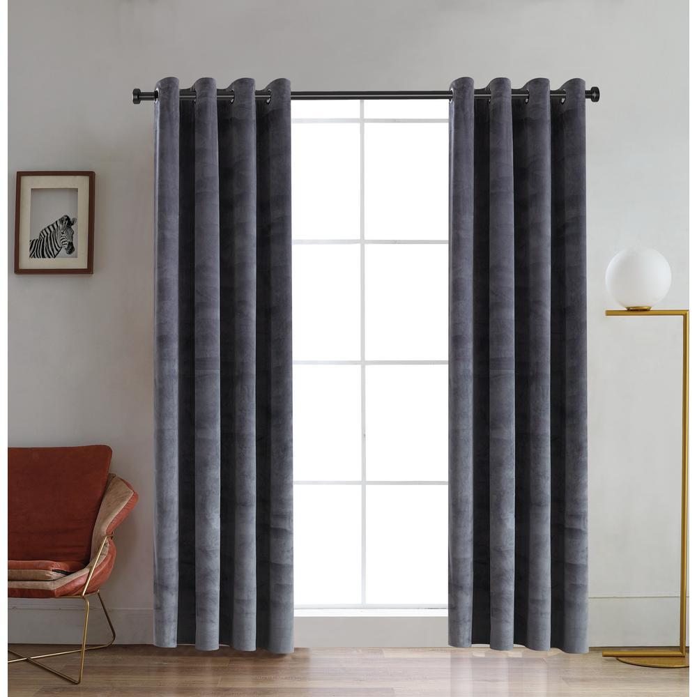 Regency 95 in. L x 52 in. W Semi-Opaque Room Darkening Polyester Curtain in Silver