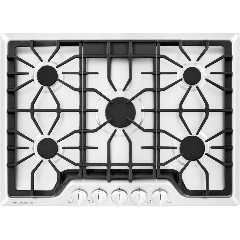 frigidaire gallery 30 in gas cooktop in white with 5 burners fggc3047qw the home depot. Black Bedroom Furniture Sets. Home Design Ideas