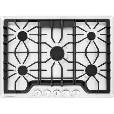 30 in. Gas Cooktop in White with 5 Burners