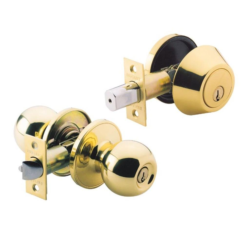 Defiant Polished Brass Ball Knob Entry Combo with Single Cylinder Deadbolt