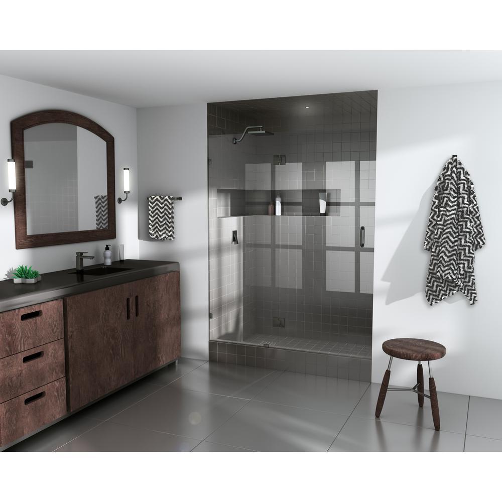 46.25 in. x 78 in. Frameless Glass Hinged Shower Door in Oil Rubbed Bronze