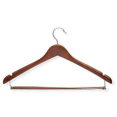 Cherry Finish Contoured Suit Hanger with Locking Bar (6-Pack)