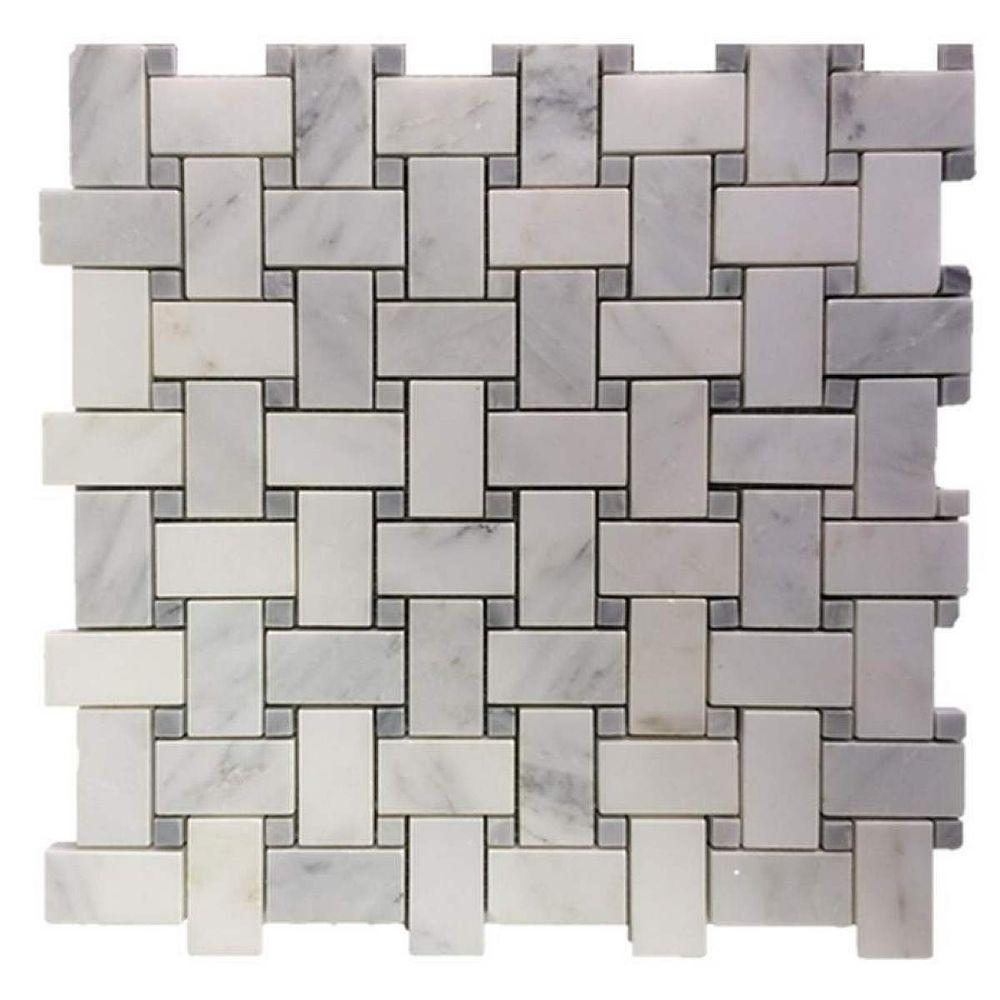 Splashback Tile Basketbraid Asian Statuary Polished Marble Floor And