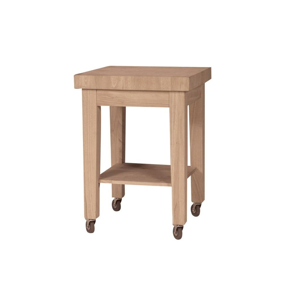 Unfinished Kitchen Cart With Butcher Block Top
