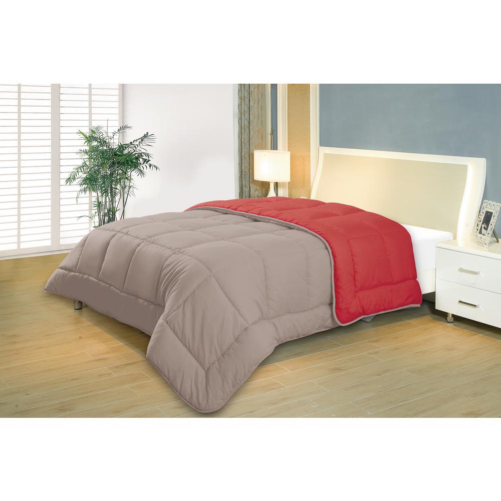 Reversible Gray/Berry Full/Queen Down Alternative Comforter