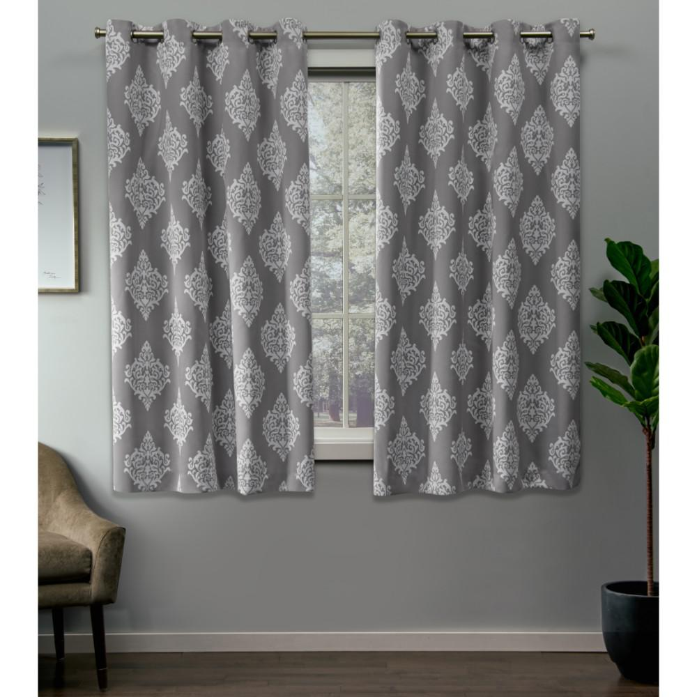 Exclusive Home Curtains Medallion 52 in. W x 63 in. L Woven Blackout Grommet Top Curtain Panel in Silver (2 Panels)