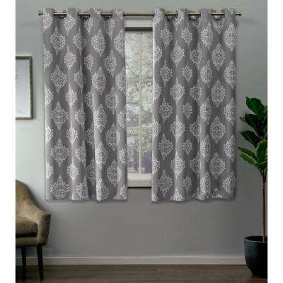 Medallion 52 in. W x 63 in. L Woven Blackout Grommet Top Curtain Panel in Silver (2 Panels)