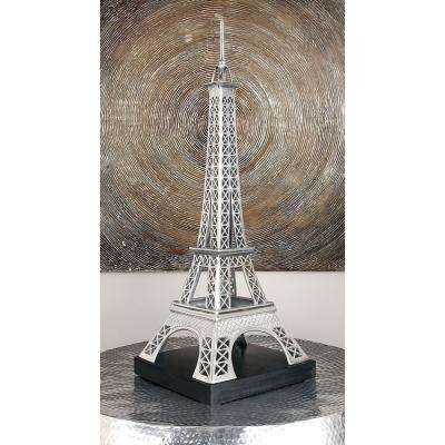 42 in. Eiffel Tower Model Decorative Sculpture in Polished Silver