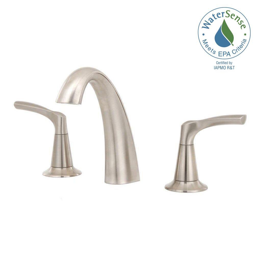 Widespread 2-Handle Mid-Arc Bathroom Faucet in Satin
