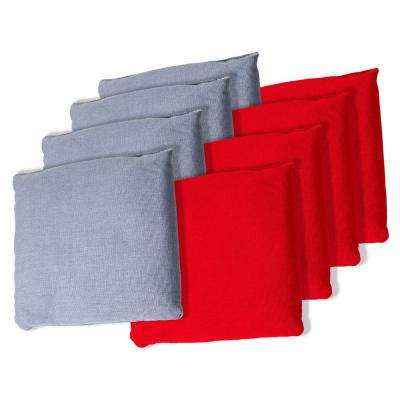 Durable Canvas Regulation Sized Cornhole Bag Set in Red/Grey (8-Pack)