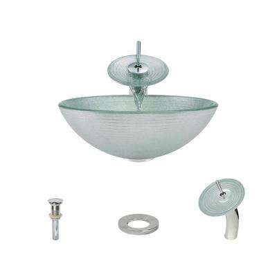 Glass Vessel Sink in Iridescent Foil Undertone with Waterfall Faucet and Pop-Up Drain in Chrome