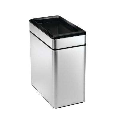 10-Liter Brushed Stainless Steel Open Top Trash Can